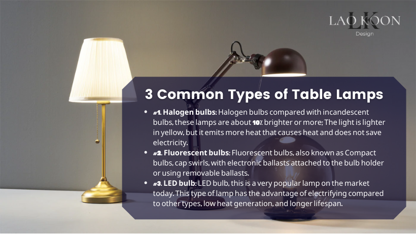 3 Common Types of Table Lamps