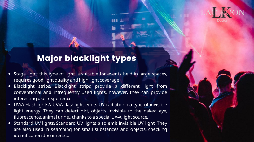 Major blacklight types