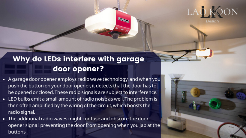 Why do LEDS interfere with garage door opener?
